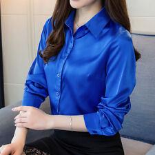 Women Satin Silky Long Sleeve Shirt Formal Work Shiny Blouse Plain Tops Formal