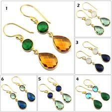 Designer Bezel Multi Gemstone Gold Plated Drop Dangle Earring Handmade Jewelry