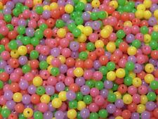 Round Acrylic 6mm Beads 500pc Blacklight UV reactive neon Fluorescent colors