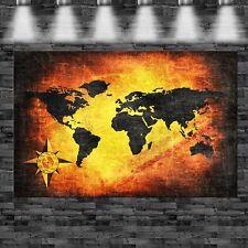 XXL Weltkarte Feuer Effekt 160cmx105cm auf Leinwand Keilrahmen Loft Bild Erde