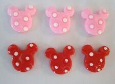 20 Pink & Red Polka Dots Mini Mickey Head Resin Flatback Button/scrapbooking B33