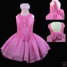 Toddler Little Girl Formal Fuchsia Dress for Pageant Wedding Dance 1-7 yesrs old