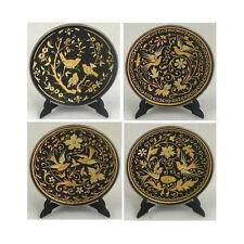 Damascene Gold Bird Design Round Decorative Plate by Midas of Toledo Spain 2922