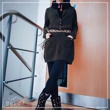 Kaco Design Cashmere Wool LongJumper Smock Dress bodycon VNeck Gem ButtonDown M