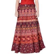 Cotton Maxi Long Skirt Animal Print Maroon Repron Sarong Women Boho Skirt