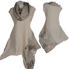 Summer Linen Tip Dress Tunic Shirt Top 44 46 48 50 XL XXL Beach Layered Look