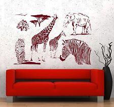 Wall Vinyl Decal Giraffe Zebra Elephant African Animal Decor z3666