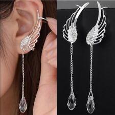 SILVER Plated Angel Wing stilista di cristallo Orecchini a Goccia Dangle Orecchino