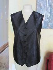 Men's black satin textured 6 button vest sz S