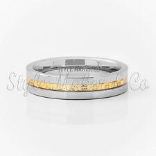 6mm Tungsten Carbide Men's Wedding Band Gold Steel Inlaid Size 7-13