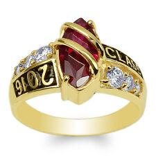 JamesJenny 10K Yellow Gold Marquise Garnet CZ 2016 Graduation Ring Size 4-9