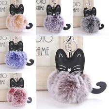 Fashion Cat Faux Fur Pom-pom KeyChain Bag Charm Cute Ball Keyring Pendant Dangle