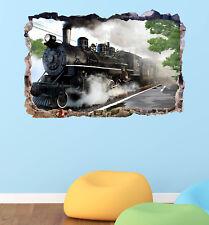 Old Train Smashed 3D Wall Decal Wallpaper Mural Sticker Decor Art Vinyl DA178