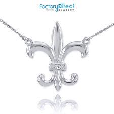 14k White Gold Diamond French Fleur-de-Lis Stylized lily Flower Necklace