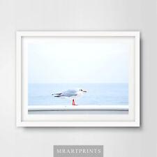 Seaside AZZURRO GABBIANO art print poster ARREDAMENTO stanza bagno tema Aqua