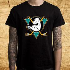 New Mighty Ducks Anaheim Logo Men's Black T-Shirt Size S-3XL