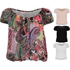 Ladies Multicolour Paisley Plain Chiffon Off Shoulder Semi Sheer Bardot Blouse