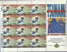 FOGLIETTO SAN MARINO MAREMOTO TSUNAMI 2005 12 PEZZI PREZZO REGALO PERFETTO MNH**