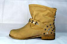 Damen Schuhe Stiefeletten Boots Stiefel mit Schnalle Gr.36-41 Beige Neu A.33173