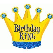 Cumpleaños rey corona dorada fiesta Globo metalizado de Helio Azul Joyas