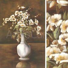 "24""x36"" TRADITIONAL WHITE by JANE KELLER ELEGANT FLOWERS IN WHITE VASE  CANVAS"