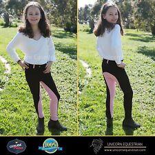Two Tone Kids Jodhpur Breeches Black n Pink Self Seat Knee Patch Sizes 6-14