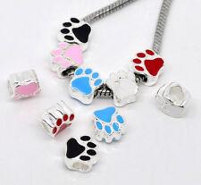 2 Silver Enamel Dog/Pet Paw Charms Fit Bracelet ~ FREE P&P. PLUS FREE GIFT POUCH