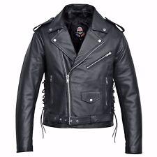 Men Motorcycle Biker Leather Jacket Classic Design Embossed Eagle Black MBJ19