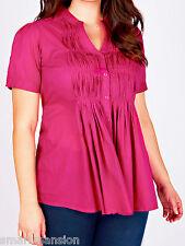 New Ladies YOURS Cotton Pintuck Short Sleeve Blouse Lace Trim Top Plus Sz 16-36