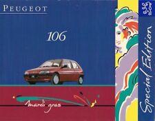 Peugeot 106 Mardi Gras Limited Edition 1994 UK Market Sales Brochure
