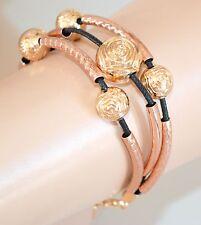 BRACCIALE donna ORO ROSA NERO fiori acciaio elegante fili bracelet pulsera 55N