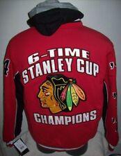 CHICAGO BLACKHAWKS 6 TIME NHL CHAMPIONSHIP Hooded Jacket S M L XL 2X RED BLACK