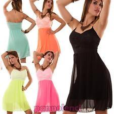 Miniabito donna abito velato PIZZO catene vestito voile vestitino nuovo AS-2501