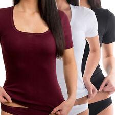 HERMKO 17815 Damen 1/4-Arm Shirt eckigem Ausschnitt weich Dank Baumwolle / Modal