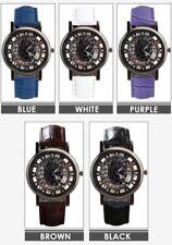 Men's Women's fashion casual skeleton synthetic leather strap quartz wristwatch