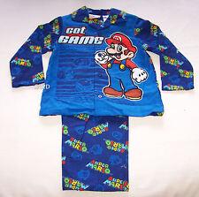 Nintendo Super Mario Boys Blue Flannel Pyjama Set Size 5 New
