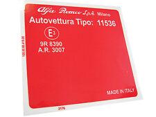 Adesivo per vano motore Alfa Romeo 2000 Berlina (Tipo 11536)
