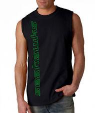 NEW Seahawks VERT SHIRT Sleeveless T-shirt LARGE XL 2XL Seattle Blue Wave