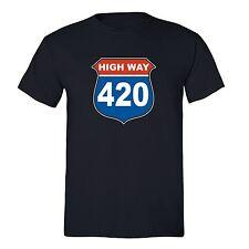 Highway - 420 shirt Marijuana Leaf Weed T-shirt Pot Kush Bud Joint Dope High Tee