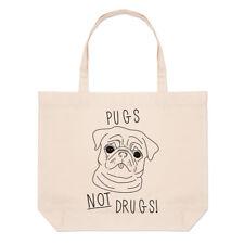 Pugs Not Drugs Large Beach Tote Bag - Dog Puppy Funny Shopper Shoulder