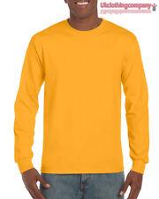 ORO GILDAN manica lunga ULTRA COTONE t-shirt-mens MAGLIA S M L XL XXL