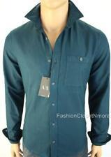ARMANI EXCHANGE AX Mens Denim Twill Utility Button Down Shirt Logo Slim NWT