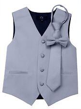 Boy's Silver Satin Formal Dress Tuxedo Vest, Tie & Bow-Tie Set. Wedding