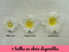 Pince clip barette à cheveux fleur frangipane frangipanier perle 3 tailles choix