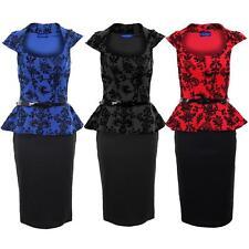 Women's Glitter Belted Embossed Floral Pattern Ladies Peplum Bodycon Dress 8-16