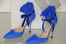$1075 NEW Manolo Blahnik Petase ROYAL Blue Suede Bow Shoes Heels Pumps 40.5