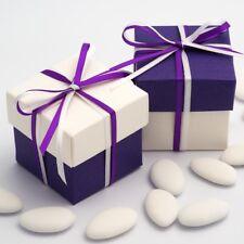 White Silk & Purple Silk Square Boxes & Lid Luxury Wedding Favour Party Boxes