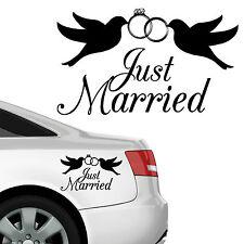 """10787 Wandtattoo Loft Autoaufkleber """"Just Married"""" Taube Ring Ehe Hochzeit Liebe"""