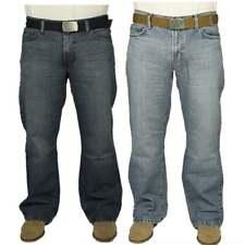 FBM Enzo Mens New Bootcut Faded Denim Light Wash Dark Wash Jeans Free Belt BNWT