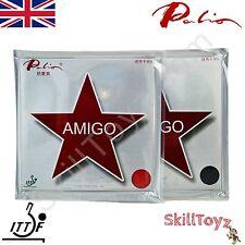2 x PALIO Amigo 40+ tennis da tavolo Pipistrello GOMME 1 Rosso + 1 Nero UK Venditore UK STOCK